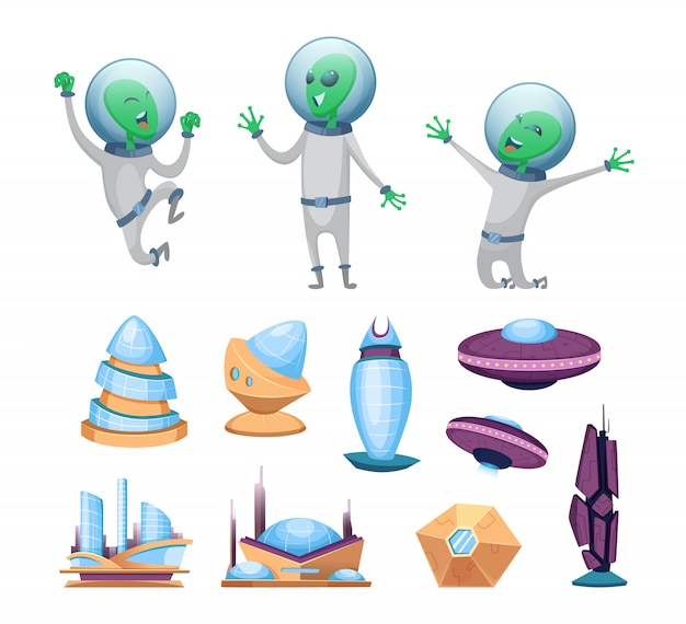 Space futuristic buildings and ufo ships.