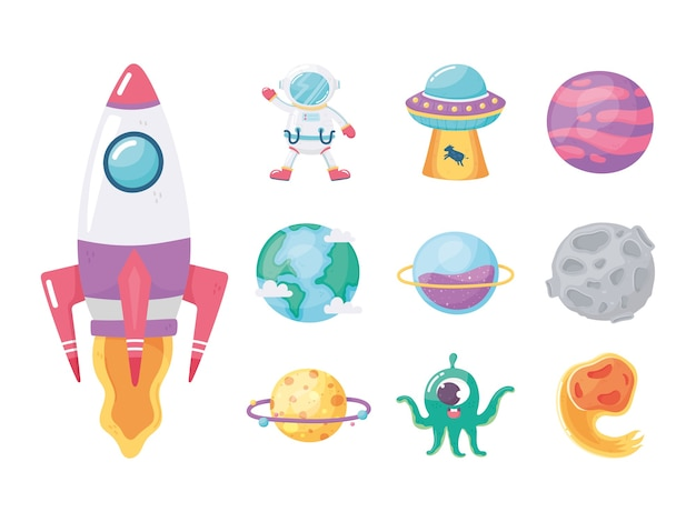 Space galaxy astronomy cartoon icons set spaceship astronaut comet ufo planet and alien