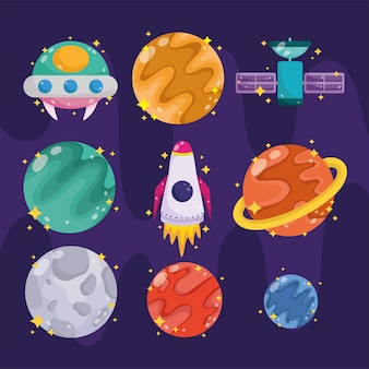 Space galaxy astronomy in cartoon style collection icons such as planet ufo rocket illustration