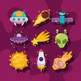 Space galaxy astronomy cartoon ufo satellite alien sun with shadow icons illustration
