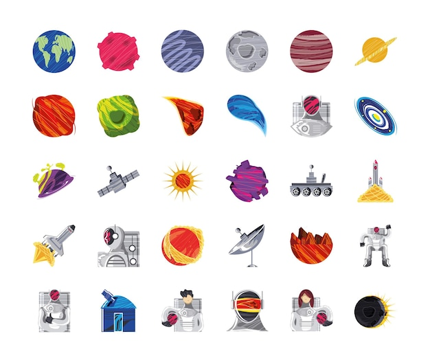 Space galaxy cosmos icons planets moon astronaut spaceship satellite antenna telescope  illustration