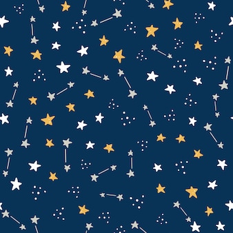 Space and galaxy hand drawn seamless pattern with star element.
