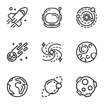 Space galaxy icon set. outline set of 9 space galaxy icons