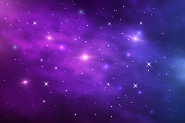 Space galaxy nebula, stardust and shining stars. starry universe vector cosmic background with blue and purple realistic nebulosity and glow stars. infinite cosmos, night sky wallpaper or backdrop