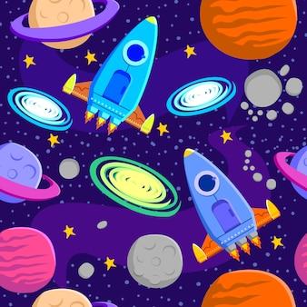 宇宙銀河のシンボルのシームレスなパターン背景