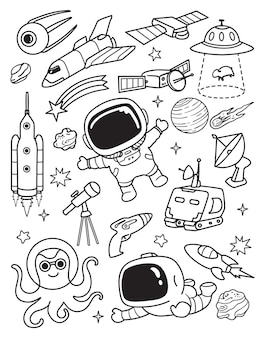 Space galazy elements doodle set