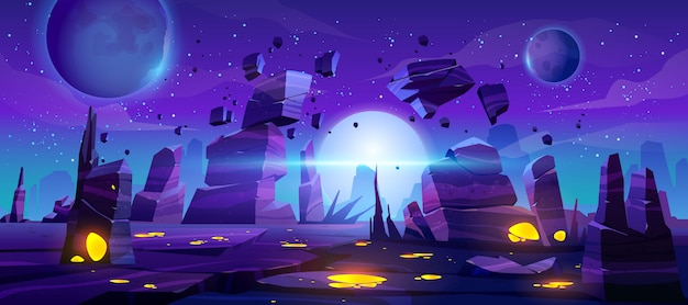 Space game background, neon night alien landscape