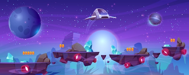 Space game level banner with platforms and flying spaceship