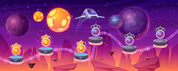 Карта уровня космической игры с космическим кораблем и инопланетными планетами, мультяшный 2d-графический пейзаж, компьютерная или мобильная аркада с платформой и бонусными предметами. космос, футуристический фон вселенной