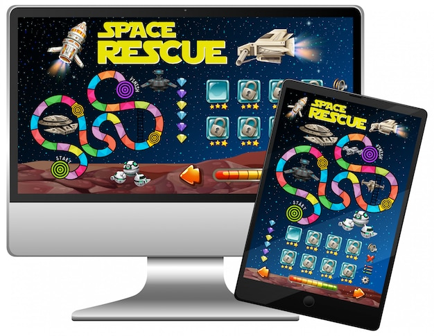 コンピュータ画面上の宇宙ゲーム