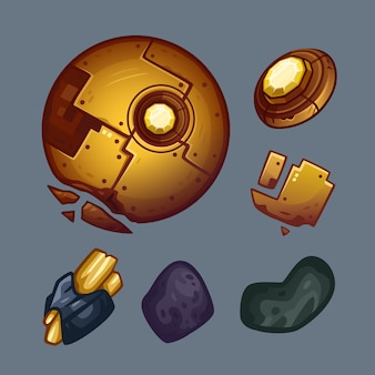 Space golden objects set