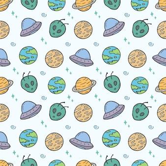 Space hand drawn seamless pattern