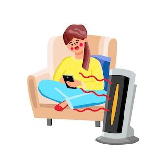 공기 온난화 홈 벡터에 대 한 공간 히터 장치입니다. 안락의자에 앉아 스마트폰, 공간 히터 가제트 난방실을 사용하는 젊은 여성. 캐릭터 소녀와 전자 장비 평면 만화 일러스트 레이션