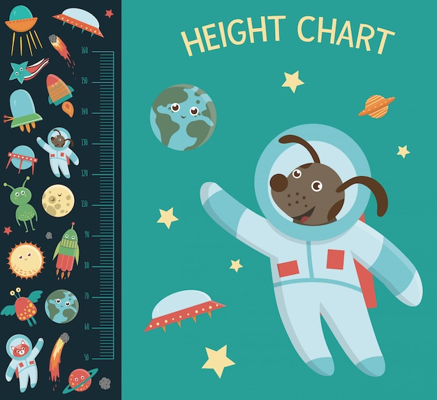 Space height chart. picture with cosmic elements for children. measurement scale with ufo, planet, star, astronaut, comet, rocket, asteroid.