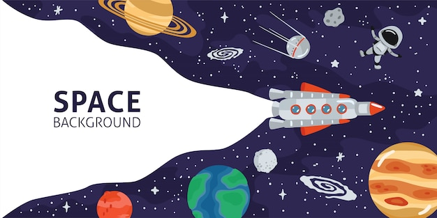 Space horizontal background with rocket, planets, cosmonaut and copy space