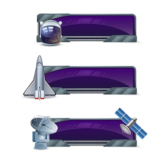 Space horizontal banner set