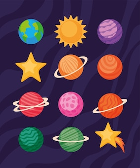 Space icon set of futuristic and cosmos theme
