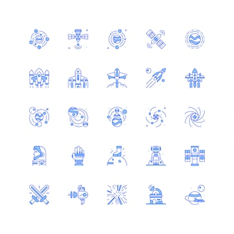 Space icon set with planet and rocket spaceship vector illustration