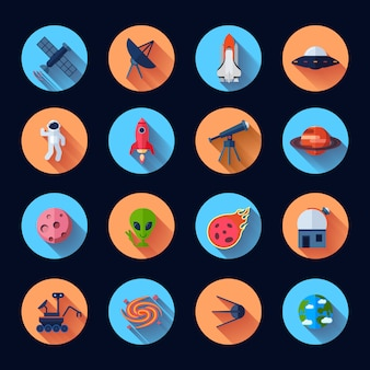 Space icons flat set with meteorite rocket spaceship satellite isolated vector illustration