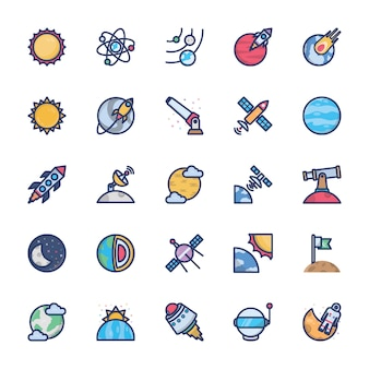 Space icons of flat vector