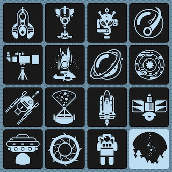 Space icons monochrome