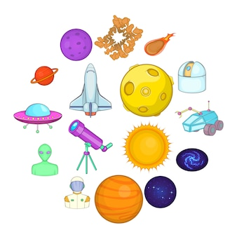 Space icons set, cartoons style