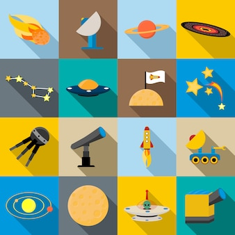 Space icons set, flat style