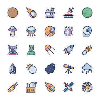 Space icons set of flat vector