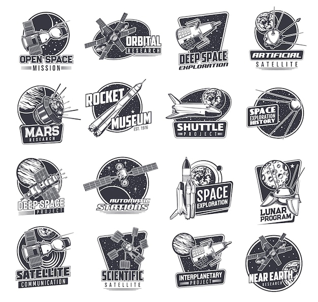Space icons with spaceships or satellites