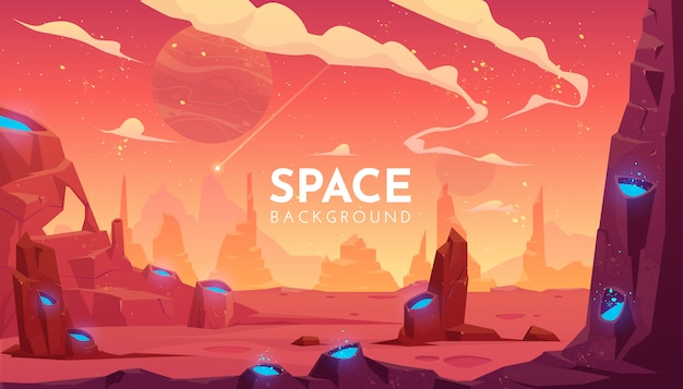 Space illustration, empty alien fantasy landscape
