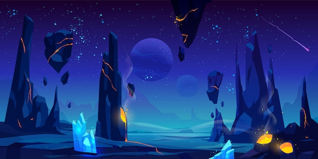 Space illustration, night alien fantasy landscape