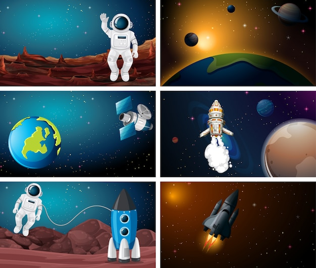 Space illustration scene set