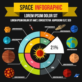 Space infographic in flat style for any design