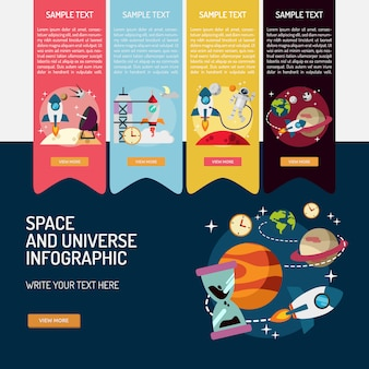 Space infographic template