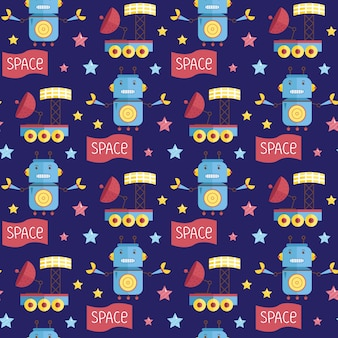 Space invaders cartoon  seamless pattern