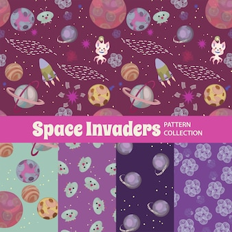 Space invaders cute rainbow seamless pattern