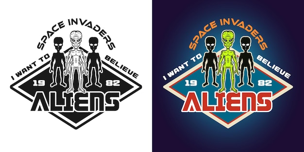 Space invaders vector emblem, badge, label, logo or t-shirt print in two styles monochrome and colored with aliens