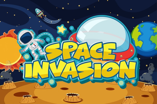 スペースを飛んでいる宇宙飛行士と宇宙侵略