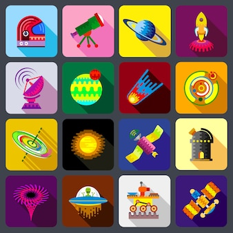 Space items icons set.