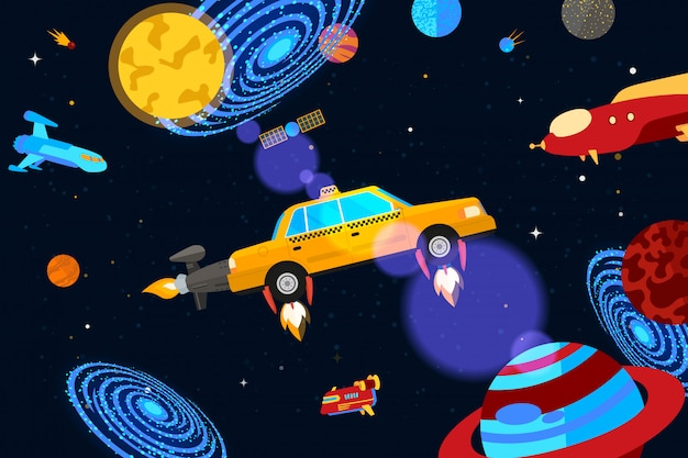 Space jet taxi service,  illustration. checkered car carries passengers around planets, constellations and galaxies banner.
