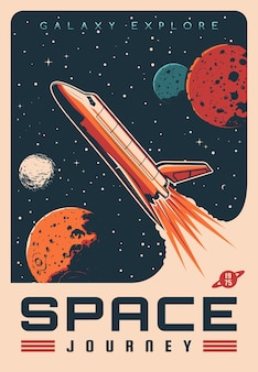 Space journey with shuttle spaceship retro banner
