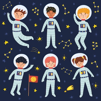 Space kids in suits and helmets collection illustration