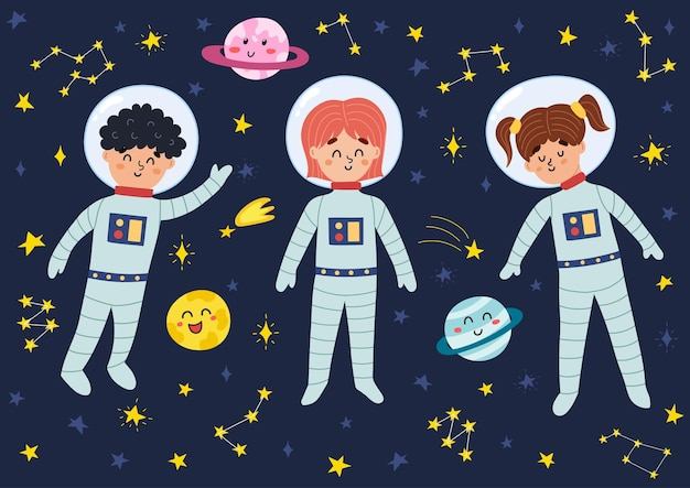 Space kids in suits and helmets illustration
