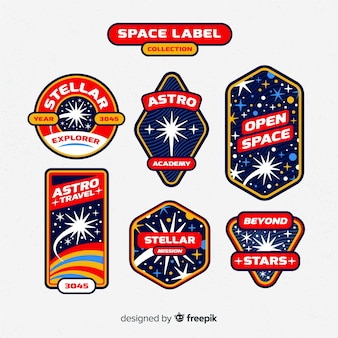 Space label collection in vintage style
