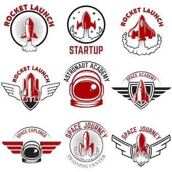スペースラベル。ロケット打ち上げ、宇宙飛行士アカデミー。ロゴ、ラベル、エンブレム、記号の要素。図。