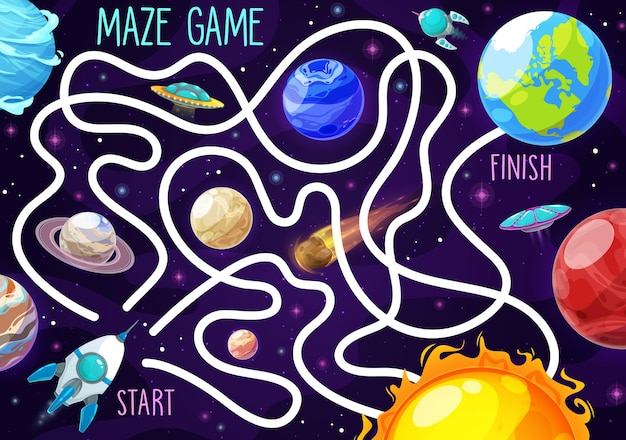 Space labyrinth maze game for kids, puzzle or tabletop boardgame