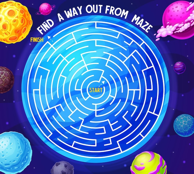 Space labyrinth maze game with planets and galaxy. kids boardgame with meteors in deep cosmos. board game with tangled path in space, start and finish. riddle with cosmic fantasy world for baby