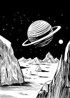 Космический пейзаж. оттенки серого векторные иллюстрации. отлично подходит для печати