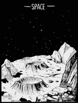 Space landscape. grayscale vector illustration. great for print