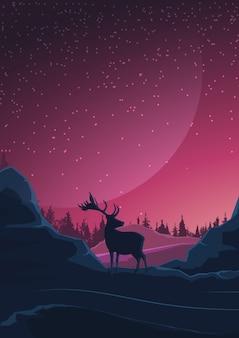 Space landscape in purple tones